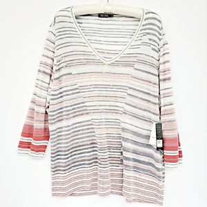 NIC+ZOE Skyline Striped Linen-blend Sweater 2X NWT